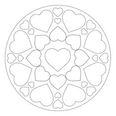 Hearts express love and affection: give the gift of a heart mandala for Mother's Day, Father's Day or Valentine's Day. Free to print out and color. Printable Flower Coloring Pages, Valentine Coloring Pages, Mandala Coloring Pages, Colouring Pages, Coloring Books, Mandala Stencils, Mandala Art, Pokemon Coloring Pages, Floral Embroidery Patterns