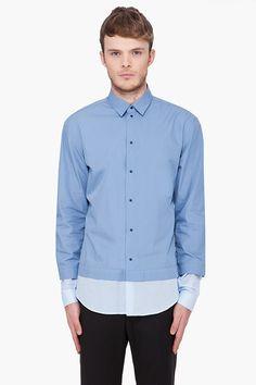 Mugler Blue Tonal Layered Shirt  $284.00