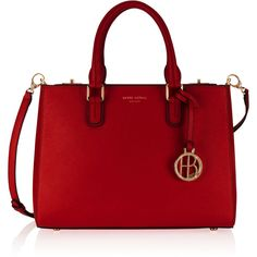Henri Bendel West 57th Small Turnlock Satchel ($298) ❤ liked on Polyvore featuring bags, handbags, red, red handbags, red bag, satchel handbags, red purse and satchel bag