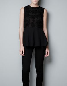 EMBROIDERED PEPLUM TOP - Shirts - Woman - ZARA United States