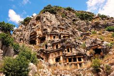 The ancient Lycian rock cut tombs town of Myra, Anatolia, Turkey.