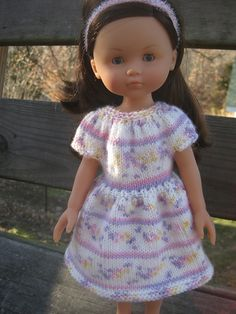 """How to size down """"Katie's new dress"""" (AG size) to fit Les Chéries and H4H dolls."""