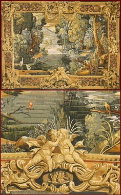 """Tapestry of """"La verdure au lac"""" tapestry (XVIIth. Cent., Mobilier National). The reproduction of the original piece happens through long and scrupulous stages of workmanship to work of a équipe of artists of DE RAMBOUILLET Company that use secrets and techniques of Renaissance masters."""