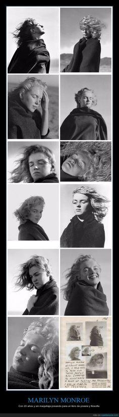 MARILYN MONROE - Con 20 años y sin maquillaje posando para un libro de poesía y filosofía