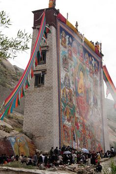 Shoton (yoghurt) festival, Lhasa, Tibet. This building was built exclusively for displaying a giant thangka.