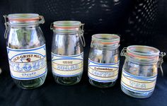 Tradewind Importers Glass Canister Jars Set of 4 Vintage Country Rustic Kitchen Decor by GOSHENPICKERS on Etsy