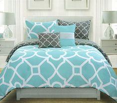 Max Studio Lattice Quatrefoil Pattern King Duvet Cover and Shams 3pc Set, Turquoise Blue Charcoal Grey and White Max Studio Home http://www.amazon.com/dp/B00WESBG04/ref=cm_sw_r_pi_dp_f.npvb1T3AVEC