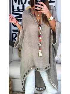 Women Boho Causal Tops V Neck Soild Half Sleeve Blouses - Trendy Outfits Half Sleeves, Types Of Sleeves, Shirt Sleeves, Mode Abaya, Mode Hijab, Outfit Chic, Bluse Outfit, Look Fashion, Womens Fashion