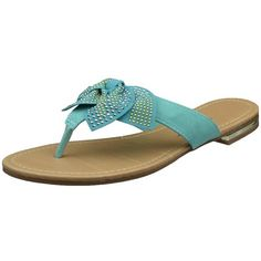 Womens Flat Sandals Studded Bow Accent Slip On Thong Sandal Teal SZ 8 >>> Read more reviews of the product by visiting the link on the image.(This is an Amazon affiliate link)