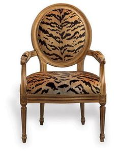 Beau Port 68 Avery Chairs In Scalamandre Le Tigre Natural