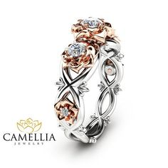 Three Stone Natural Diamonds Engagement Ring Nature Inspired Ring in 14K Two Tone Gold Unique Floral Ring
