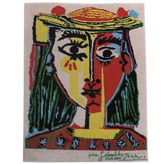 Pablo Picasso Femme au chapeau art rug | 1stdibs.com