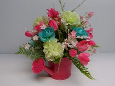Hot Pink Watering Can Arrangement, Spring and Summer Flowers, Tulips, Roses, Hydrangeas, Table Arrangement, Mother's Day Gift, Centerpiece by BeautifulHomeAccents on Etsy