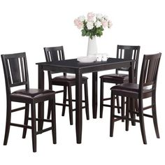 Black Counter Height Table And 4 Kitchen Chairs 5 Piece Dining