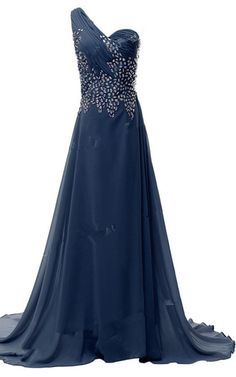 Beading Crystal Sequined Navy Pleated Floor Length Chiffon One Shoulder Sleeveless Long Prom Dress