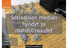 @pauliinamakela Sosiaalisen median hyödyt ja mahdollisuudet -koulutus 3.3.2017 3DStep Oy Ylöjärvi.  Sosiaalisen median hyödyt ja mahdollisuudet -koulutuksessa käsiteltiin mm. seuraavia teemoja:  - läsnäolo sosiaalisessa mediassa - miksi käytän sosiaalista mediaa? - mitä hyötyjä ja mahdollisuuksia sosiaalinen media tarjoaa? - #somerekry eli sosiaalisen median avulla töihin  Kouluttajana toimi Kinda Oy:n viestintäkouluttaja Pauliina Mäkelä. Sosiaalinen Media, Hanukkah, Wreaths, Home Decor, Decoration Home, Door Wreaths, Room Decor, Deco Mesh Wreaths, Home Interior Design