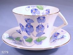Colclough Hand-Finished Enamelled Blue Pansies Vintage Bone China Tea Cup and Saucer Pattern 4212