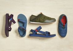 Inspired by the campground- the Original Universal Puff sandal and the Ember Moc slip-on are the dynamic duo of this transition season. Sandalias Teva, Sleeping Bag, Slippers, Slip On, Booty, The Originals, Sandals, Sneakers, Bags