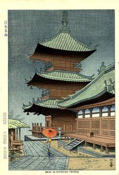 """""""Rain in Kiyomizu Temple"""", Fujishima Takeji (1867- 1943) - 1948 (late print)"""