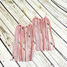 Pink Leather Fringe Earrings, Leather Tassel Earrings, Handmade Leather Earrings, Blush Pink Leather Earrings, Long Earrings, Gift For Her by whiteshedcreations on Etsy