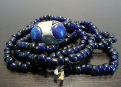 Vintage Handcrafted Lapis Ring on Glass Bead Necklace by Sfuso, $35.00