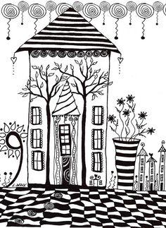 What a wonderful doodle! Zentangle Drawings, Doodles Zentangles, Zentangle Patterns, Doodle Drawings, Zen Doodle, Doodle Art, House Doodle, Tangle Art, Zen Art