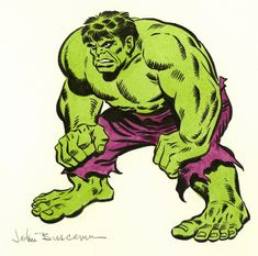 JOHN BUSCEMA Dick Butkus as The Hulk (1970 NFL program) Comic Art