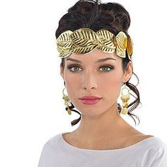 Our Roman Wreath Headband will add the finishing touches to your Roman attire. This headpiece features gold polyester leaves attached to a clear headband. Halloween Costume Accessories, Halloween Costumes, Roman Toga, Greek Goddess Costume, Gold Wreath, Egyptian Costume, Black Headband, Costumes For Women, Greek Costumes