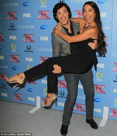 Jumping for joy: Simon Cowell's favourites Alex and Sierra were delighted when the X Factor USA finalists were announced in Los Angeles on M. Celebrity Singers, Celebrity Couples, 5sos Girlfriends, Blake Shelton Miranda Lambert, Alex And Sierra, Britt Nicole, Hot Couples, Cutest Couples, Simon Cowell