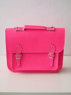Seriously considering getting this exact bag in this amazing pink!! Large Bag number 3 vegan satchel fluro pink by goldenponies on Etsy, $90.00