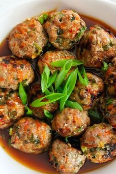 Jumbo baked Thai meatballs packed with fresh flavors and paired with a simple chili sauce. Low FODMAP, Paleo and SCD approved. Beef Recipes For Dinner, Ground Beef Recipes, Whole 30 Recipes, Paleo Turkey Recipes, Meatloaf Recipes, Fodmap Recipes, Diet Recipes, Cooking Recipes, Healthy Recipes