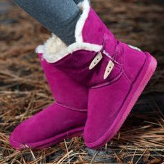 BearPaw Boots Brand new with box. Super cute berry color. Size 8. Actual shoes in second photo. NO TRADES OR PAYPAL. Bearpaw Shoes Winter & Rain Boots