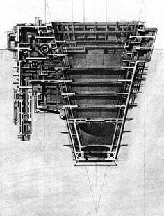 (above) a Living Unit, designed by Masahiko (Mas) Yendo. Mas Yendo thinks of machines and the industrial age that spawned them not so much skeptically, as epically. Machines get old. They break dow… Architecture Graphics, Architecture Student, Architecture Drawings, Architecture Design, Section Drawing, Lebbeus Woods, Architectural Section, Architectural Presentation, Architectural Sketches
