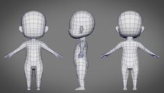 male sd character base 3d obj