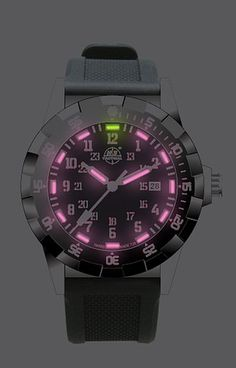 """This is a """"boyfriend size"""" women's watch from H3 Tactical with the very rare HOT PINK Tritium Illumination!"""