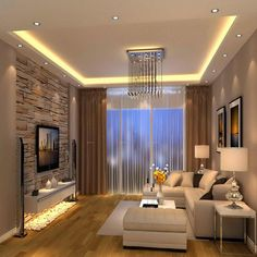 Beautiful Modern Living Room Designs Ideas, Do you want the room to truly feel elated or are you searching for a place of serenity. When you think about improving you living room to eliminate th. House Ceiling Design, Ceiling Design Living Room, Home Room Design, Living Room Lighting, Home Interior Design, Modern Ceiling Design, Bedroom Lighting, Living Room White, Living Room Modern