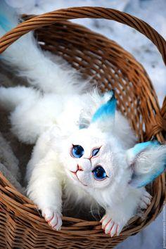 One and a Half Cornish Rex Cats Cute Fantasy Creatures, Woodland Creatures, Cute Creatures, Magical Creatures, Cornish Rex Cat, Kawaii, Cute Little Animals, Cute Toys, Art Dolls