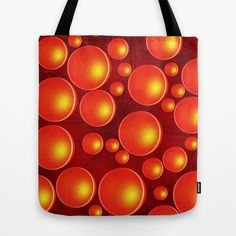 Orange bubbles Tote Bag Digital work based on one of my photos  Circle, happy, cheerful, colorful, orange, yellow, red, design