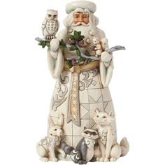 Enesco Jim Shore Nature's Winter Wonders Woodland Santa With Animals ($70) ❤ liked on Polyvore featuring home, home decor, holiday decorations, blue home decor and handmade home decor