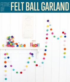 How to Make DIY Felt Ball Garland by DIY Ready at www.diyready.com/festive-diy-felt-ball-garland/