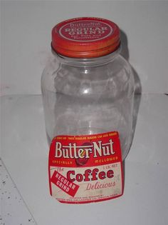 Vintage Butter-Nut GLASS Coffee Jar Original Advertising Label 1 Lb