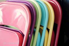 Spray-paint your folding chairs. | 36 Genius Ways To Hide The Eyesores In Your Home Love this idea!!