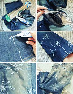 DIY Palm Tree Printed Jeans