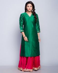 Silk Cotton Embroidered Detail Long Kurta