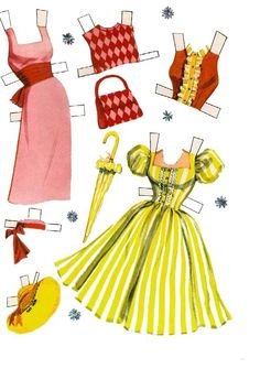 This must be an incomplete set- there are only 7 pages of clothes for this Whitman Debbie Reynolds book. Does anyone have scans of the missi. Paper Toys, Paper Crafts, Paper Art, Vintage Paper Dolls, Vintage Barbie, Paper Doll Costume, Paper Dolls Printable, Printable Vintage, Debbie Reynolds