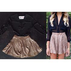 Get The Look Sequin High Waisted SkirtBlack 3/4 Sleeve BlouseText/call 305-6
