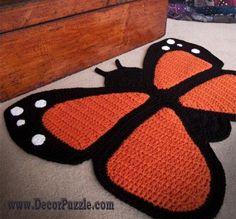 butterfly bathroom rug sets and bath mats 2015 - black and orange bathroom rugs