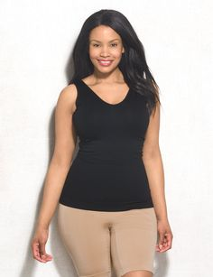 This seamless fabric of this curve-molding shaper provides ultimate smoothing for tummy and back while allowing you to wear your own bra for support and shape. Imported.
