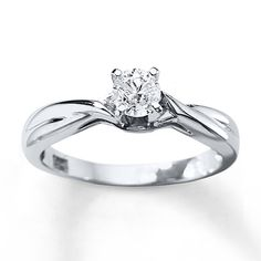 """""""Diamond Solitaire Ring 3/8 Carat Round-cut 14K White Gold""""  This ring is gorgeous.!!! Definitely my style.!"""