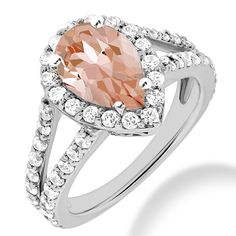 Jewelry Point - Peach-Pink Pear Cut Morganite Diamond Halo Engagement Ring, $2,150.00 (http://www.jewelrypoint.com/peach-pink-pear-cut-morganite-diamond-halo-engagement-ring/)